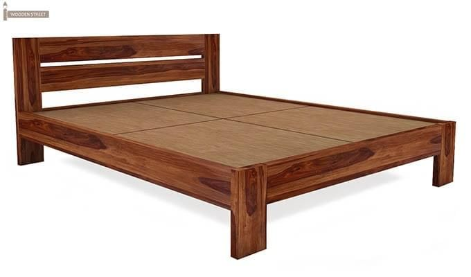 Denzel Bed without Storage (King Size, Teak Finish)-4