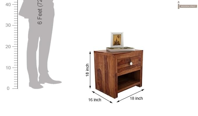 Denzel Bedside Table (Teak Finish)-4