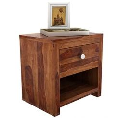 Denzel Bedside Table (Teak Finish)