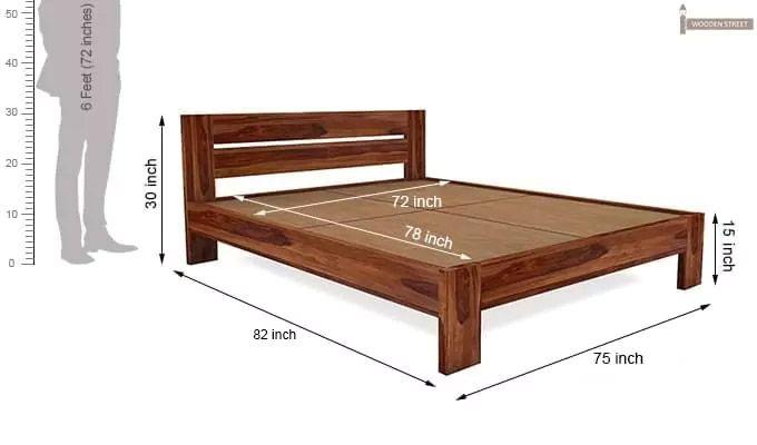 Denzel Bed without Storage (King Size, Teak Finish)-7