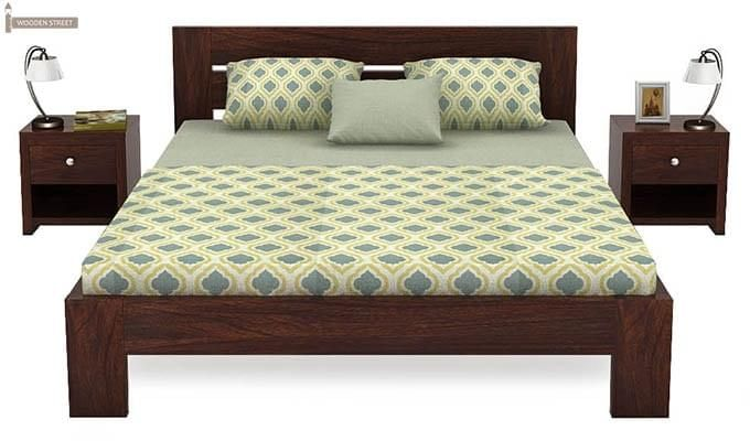 Denzel Bed without Storage (Queen Size, Walnut Finish)-3