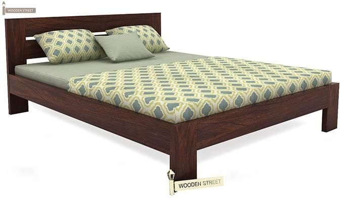 Denzel Bed without Storage (Queen Size, Walnut Finish)-4