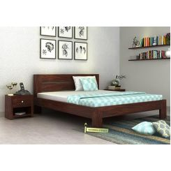 Denzel Bed without Storage (King Size, Walnut Finish)