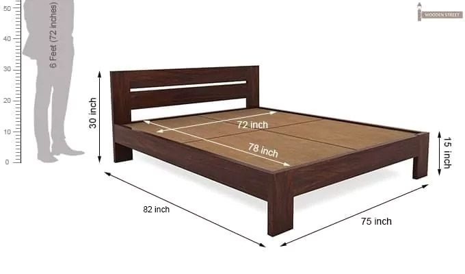 Denzel Bed without Storage (Queen Size, Walnut Finish)-8