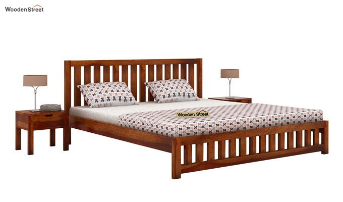 Douglas Bed Without Storage (Queen Size, Honey Finish)-2