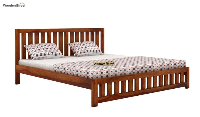 Douglas Bed Without Storage (King Size, Honey Finish)-4