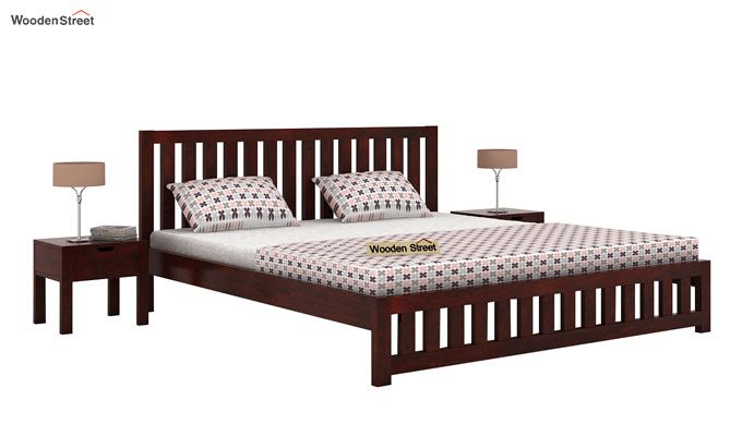 Douglas Bed Without Storage (King Size, Mahogany Finish)-1