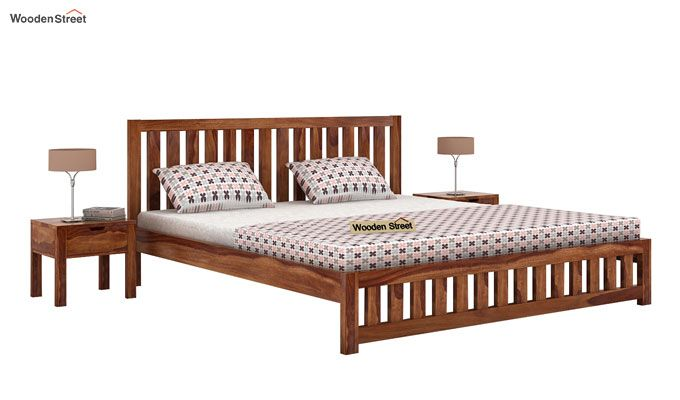 Douglas Bed Without Storage (King Size, Teak Finish)-1