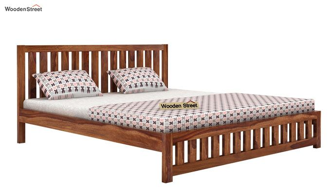Douglas Bed Without Storage (Queen Size, Teak Finish)-3