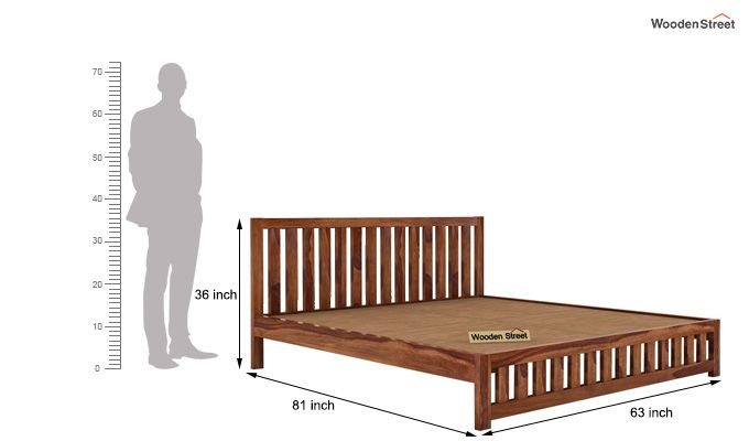 Douglas Bed Without Storage (Queen Size, Teak Finish)-5