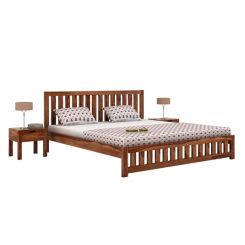 Douglas Bed Without Storage (Queen Size, Teak Finish)