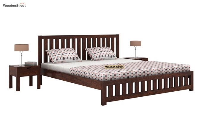 Douglas Bed Without Storage (Queen Size, Walnut Finish)-1