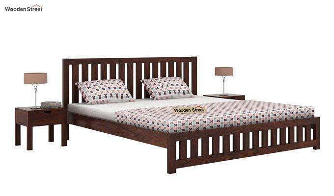 Douglas Bed Without Storage (King Size, Walnut Finish)-1