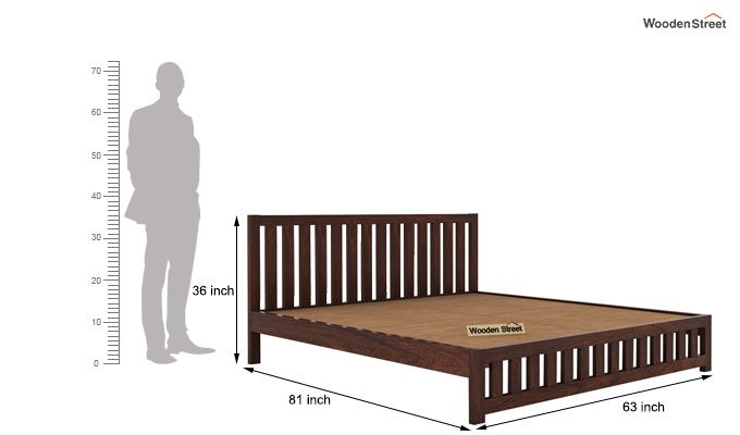 Douglas Bed Without Storage (Queen Size, Walnut Finish)-5