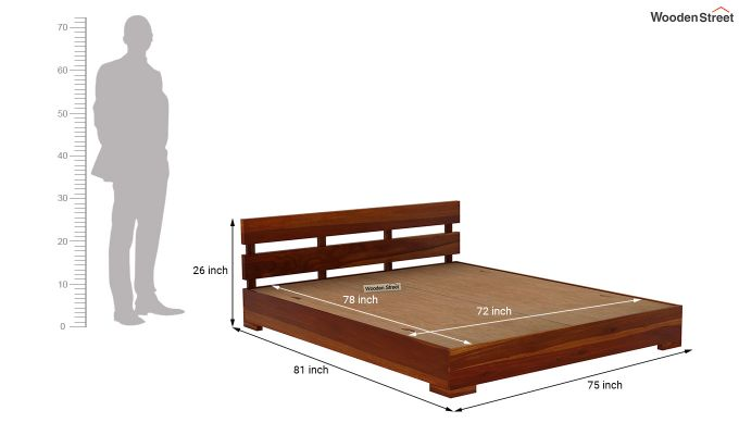 Downey Bed (King Size, Honey Finish)-7