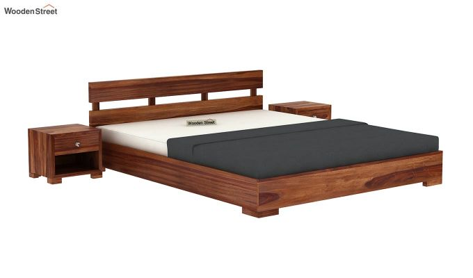Downey Bed (King Size, Teak Finish)-2