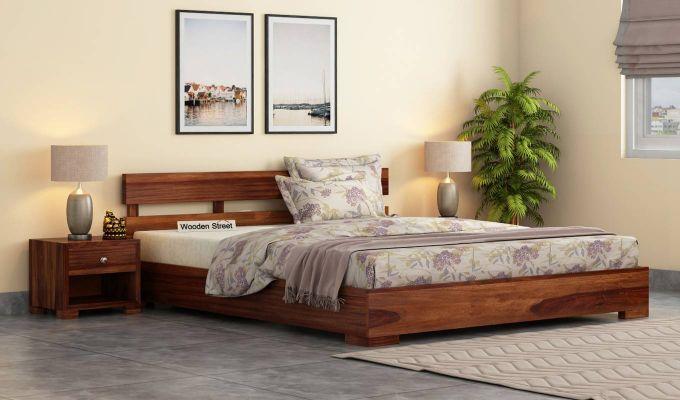 Downey Bed (King Size, Teak Finish)-1