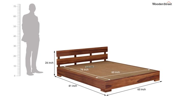 Downey Bed (Queen Size, Teak Finish)-7