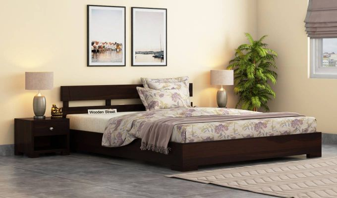 Downey Bed (Queen Size, Walnut Finish)-1