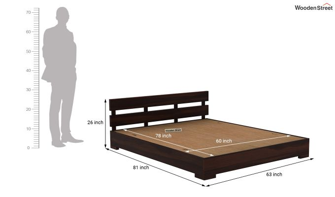 Downey Bed (Queen Size, Walnut Finish)-7