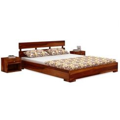 Downey Bed (Queen Size, Honey Finish)
