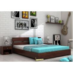 Downey Bed (Queen Size, Walnut Finish)