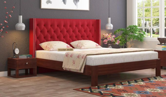 Drewno Upholstered Bed Without Storage (King Size, Dusky Rose)-1