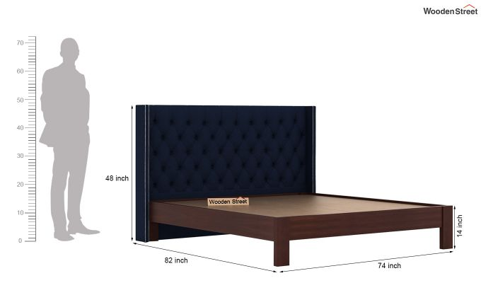 Drewno Upholstered Bed Without Storage (King Size, Indigo Ink)-6