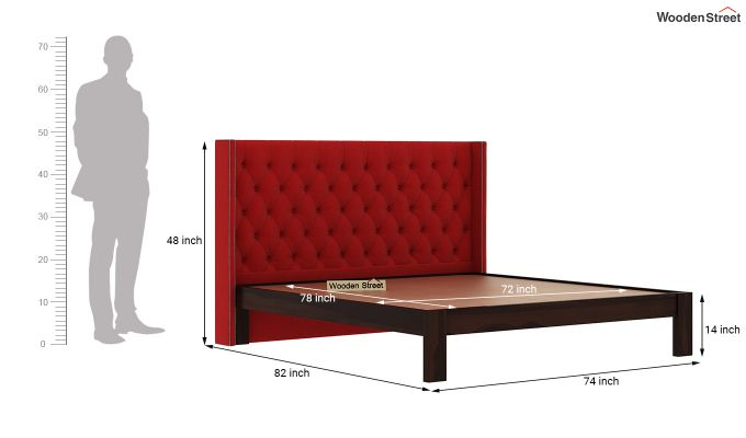 Drewno Upholstered Bed Without Storage (King Size, Dusky Rose)-6