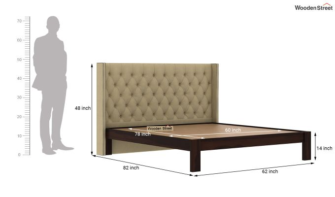 Drewno Upholstered Bed Without Storage (Queen Size, Irish Cream)-6