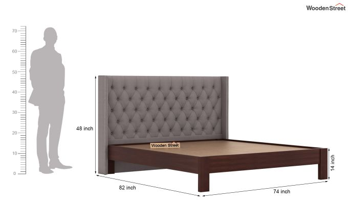 Drewno Upholstered Bed Without Storage (King Size, Warm Grey)-6