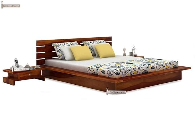 Dwayne Low Floor Platform Bed (King Size, Honey Finish)-2