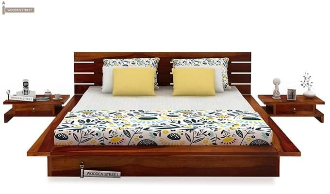 Dwayne Low Floor Platform Bed (King Size, Honey Finish)-3