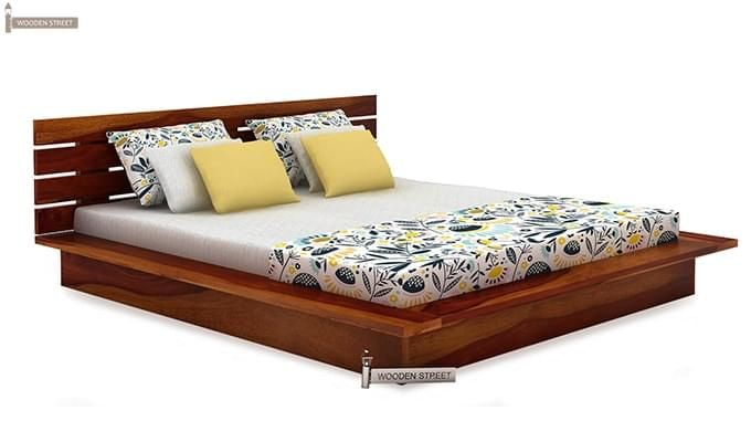 Dwayne Low Floor Platform Bed (King Size, Honey Finish)-4