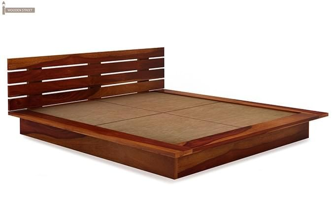 Dwayne Low Floor Platform Bed (King Size, Honey Finish)-5