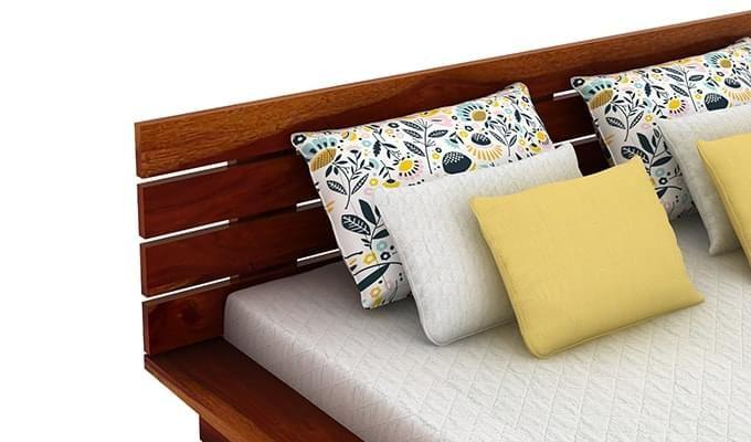 Dwayne Low Floor Platform Bed (Queen Size, Honey Finish)-7