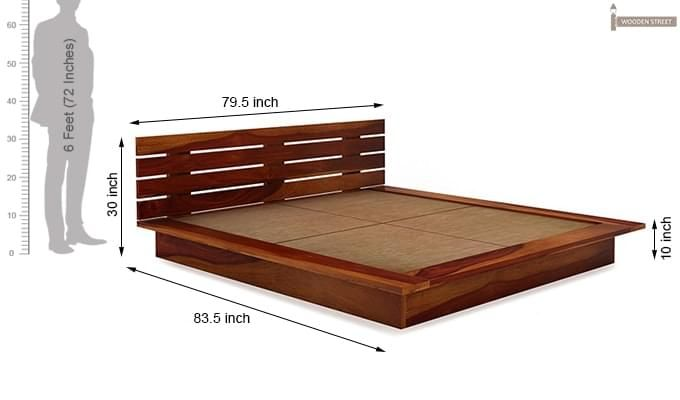 Dwayne Low Floor Platform Bed (King Size, Honey Finish)-9