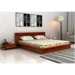 Dwayne Low Floor Platform Bed (Queen Size, Honey Finish)