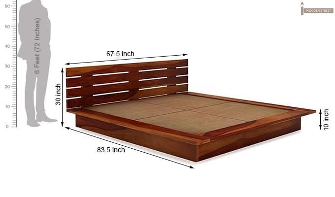 Dwayne Low Floor Platform Bed (Queen Size, Honey Finish)-9