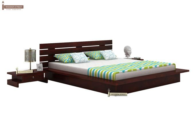 Dwayne Low Floor Platform Bed (King Size, Mahogany Finish)-1