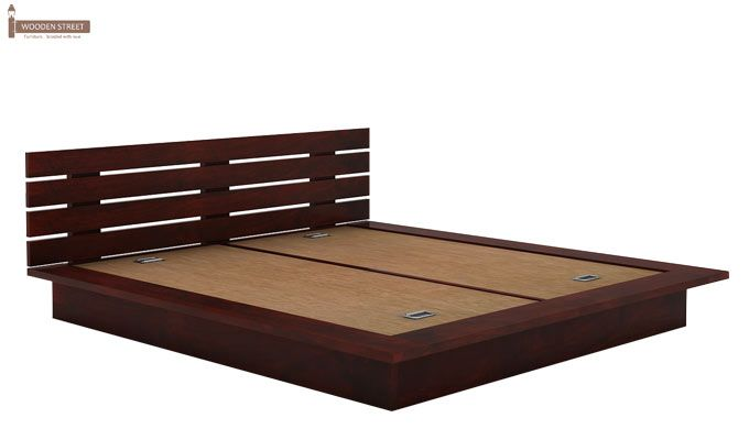 Dwayne Low Floor Platform Bed (King Size, Mahogany Finish)-4