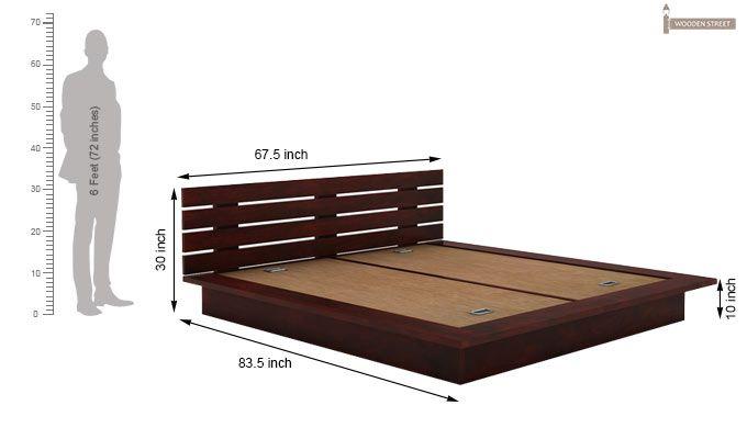 Dwayne Low Floor Platform Bed (Queen Size, Mahogany Finish)-5