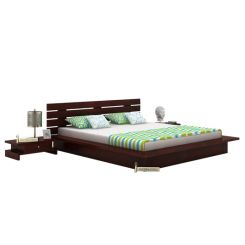 Dwayne Low Floor Platform Bed (King Size, Mahogany Finish)