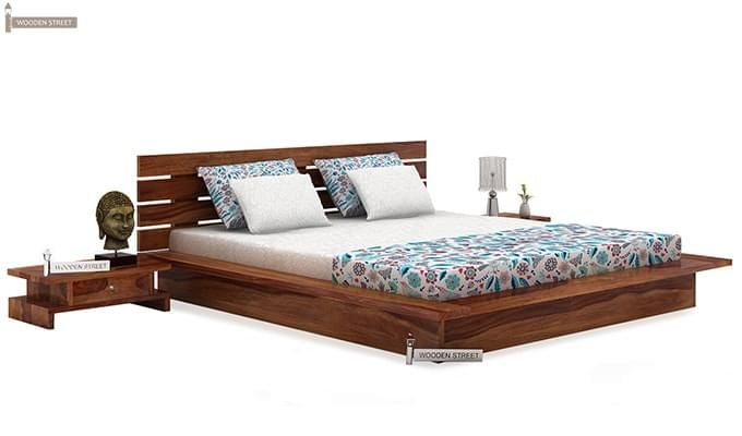 Dwayne Low Floor Platform Bed (Queen Size, Teak Finish)-1