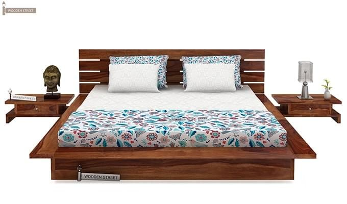 Dwayne Low Floor Platform Bed (Queen Size, Teak Finish)-2