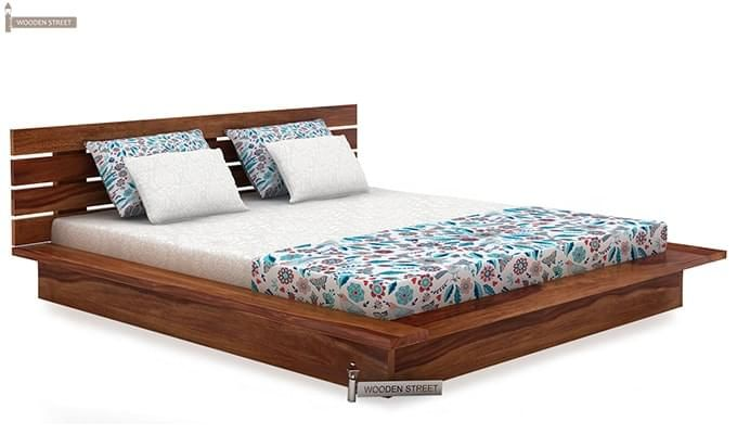 Dwayne Low Floor Platform Bed (Queen Size, Teak Finish)-3