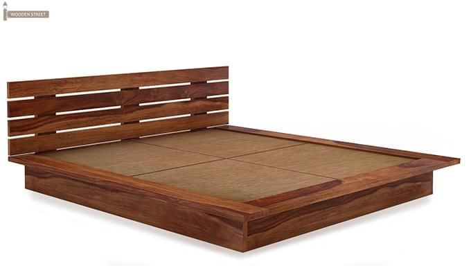 Dwayne Low Floor Platform Bed (Queen Size, Teak Finish)-4