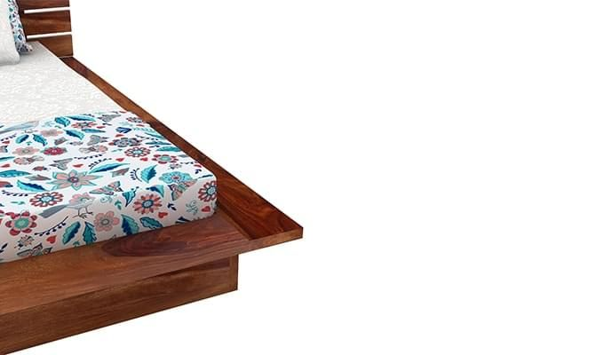 Dwayne Low Floor Platform Bed (Queen Size, Teak Finish)-6