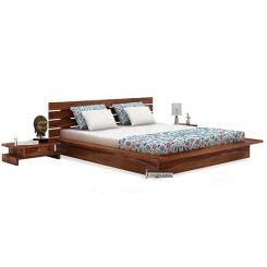 Dwayne Low Floor Platform Bed (Queen Size, Teak Finish)