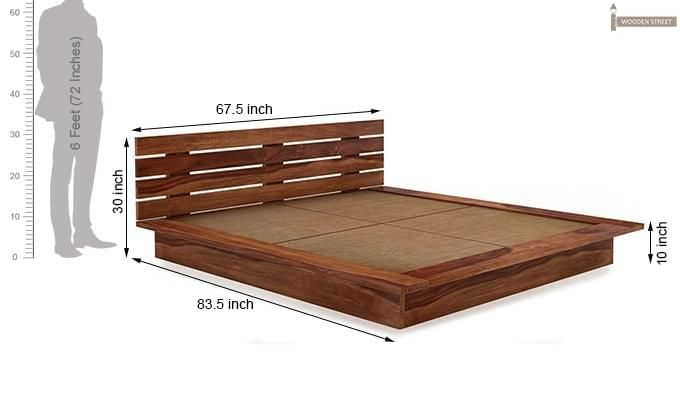 Dwayne Low Floor Platform Bed (Queen Size, Teak Finish)-8